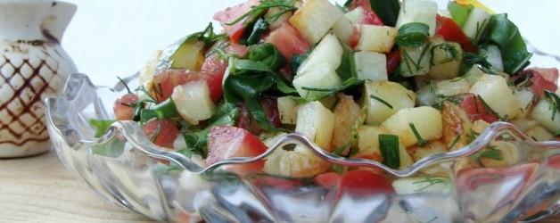 Овощной салат с жареной картошкой рецепт с фото