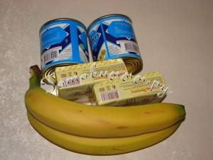 Бисквитный торт с масляным кремом и бананами