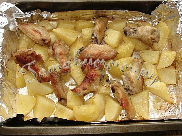 крылья с картошкой в духовке рецепты