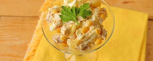Мясной салат со свининой и кукурузой